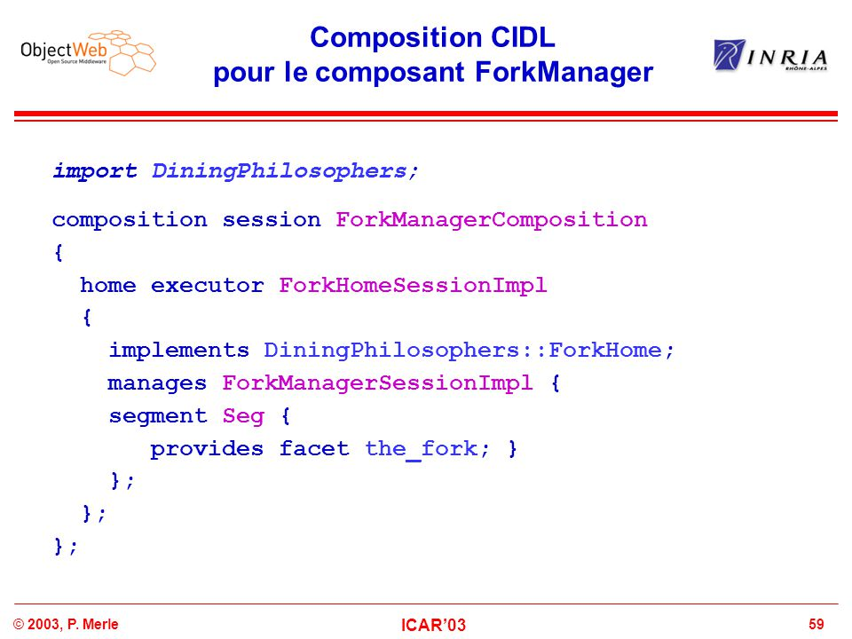 59© 2003, P. Merle ICAR'03 Composition CIDL pour le composant ForkManager import DiningPhilosophers; composition session ForkManagerComposition { home
