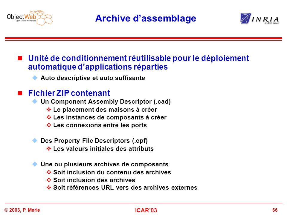 66© 2003, P. Merle ICAR'03 Archive d'assemblage Unité de conditionnement réutilisable pour le déploiement automatique d'applications réparties  Auto