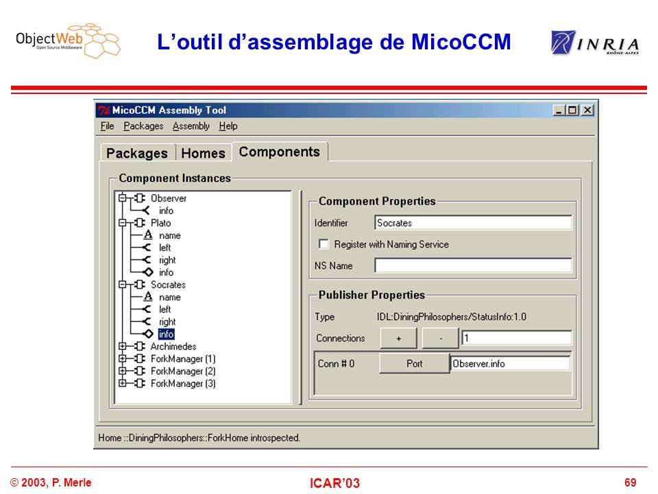 69© 2003, P. Merle ICAR'03 L'outil d'assemblage de MicoCCM