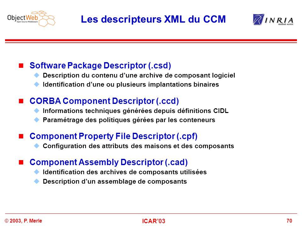 70© 2003, P. Merle ICAR'03 Les descripteurs XML du CCM Software Package Descriptor (.csd)  Description du contenu d'une archive de composant logiciel