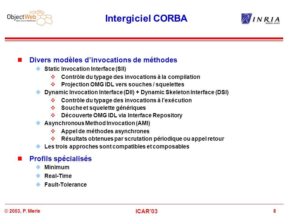 8© 2003, P. Merle ICAR'03 Intergiciel CORBA Divers modèles d'invocations de méthodes  Static Invocation Interface (SII)  Contrôle du typage des invo