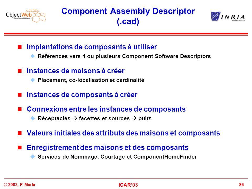 86© 2003, P. Merle ICAR'03 Component Assembly Descriptor (.cad) Implantations de composants à utiliser  Références vers 1 ou plusieurs Component Soft