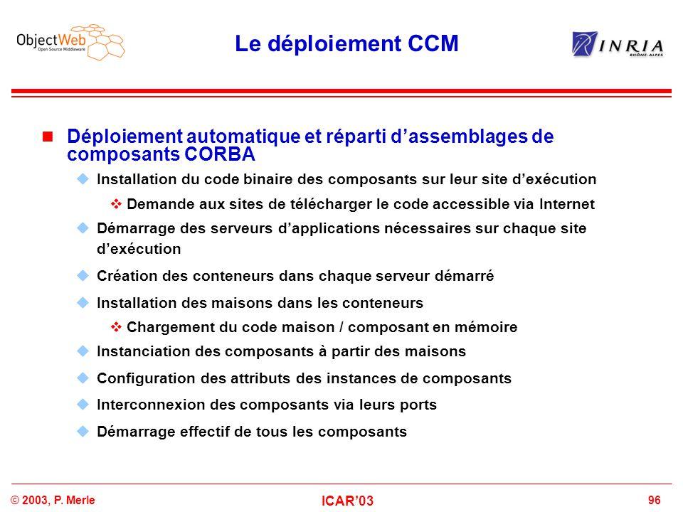 96© 2003, P. Merle ICAR'03 Le déploiement CCM Déploiement automatique et réparti d'assemblages de composants CORBA  Installation du code binaire des
