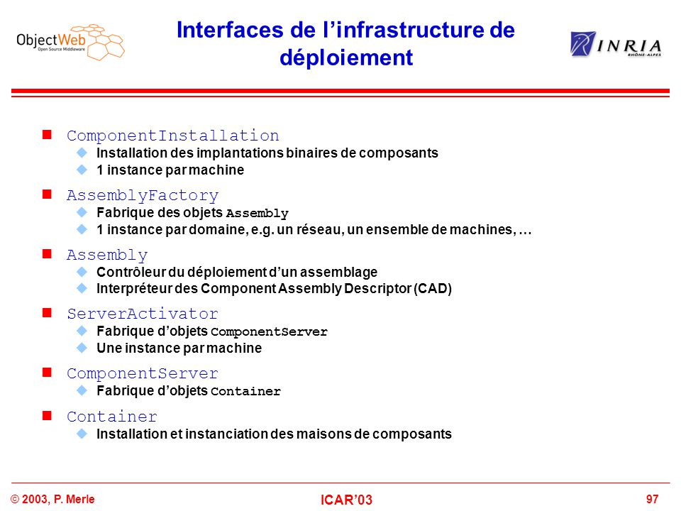 97© 2003, P. Merle ICAR'03 Interfaces de l'infrastructure de déploiement n ComponentInstallation  Installation des implantations binaires de composan