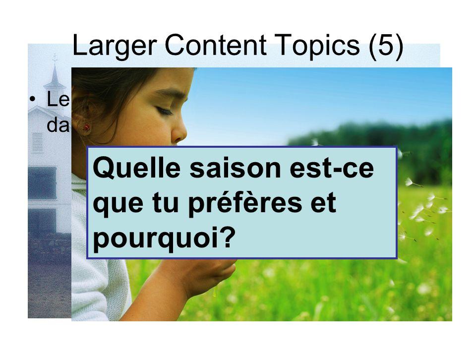 Larger Content Topics (5 x 2) Qu'est-ce que tu aimes et n'aimes pas faire?