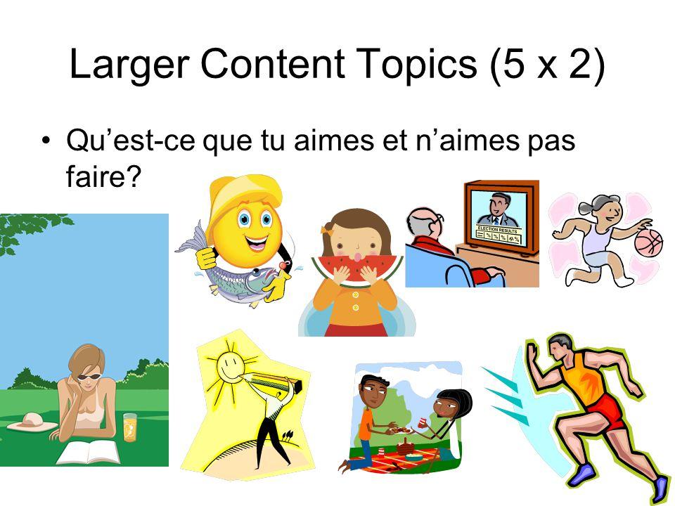 Larger Content Topics (5 x 2) Qu'est-ce que tu aimes et n'aimes pas faire