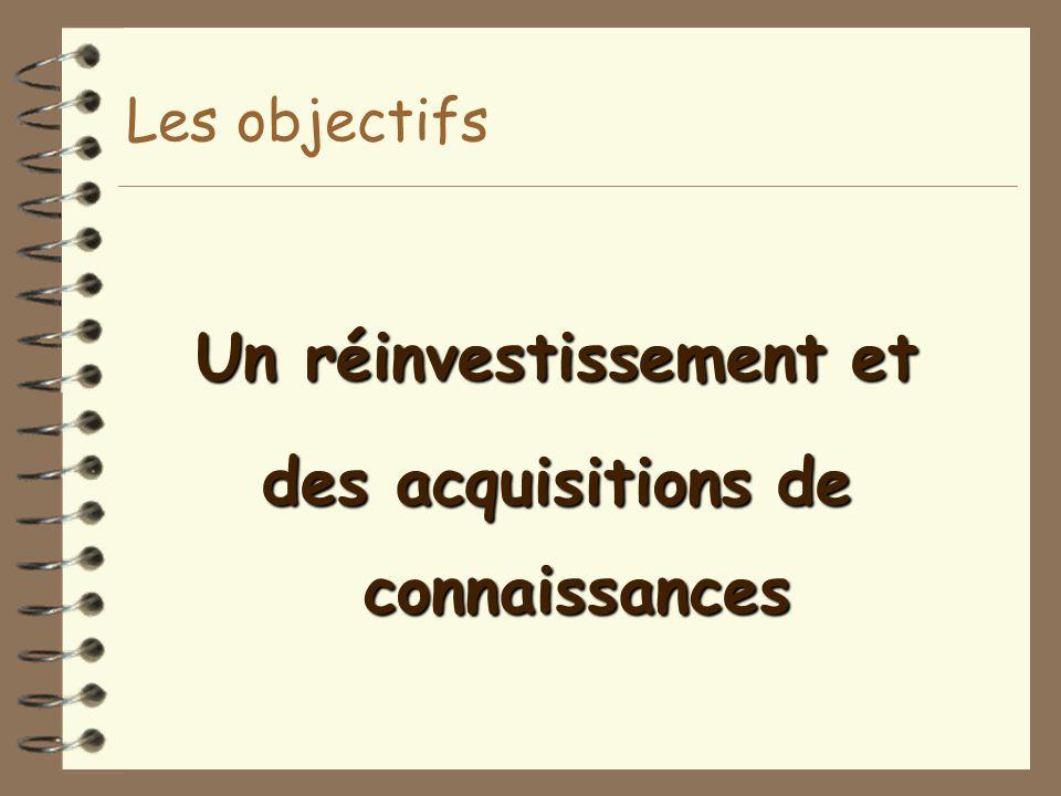 Les objectifs Un réinvestissement et des acquisitions de connaissances