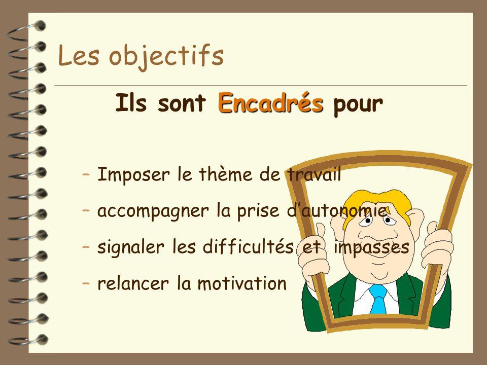 Les objectifs Encadrés Ils sont Encadrés pour –Imposer le thème de travail –accompagner la prise d'autonomie –signaler les difficultés et impasses –re