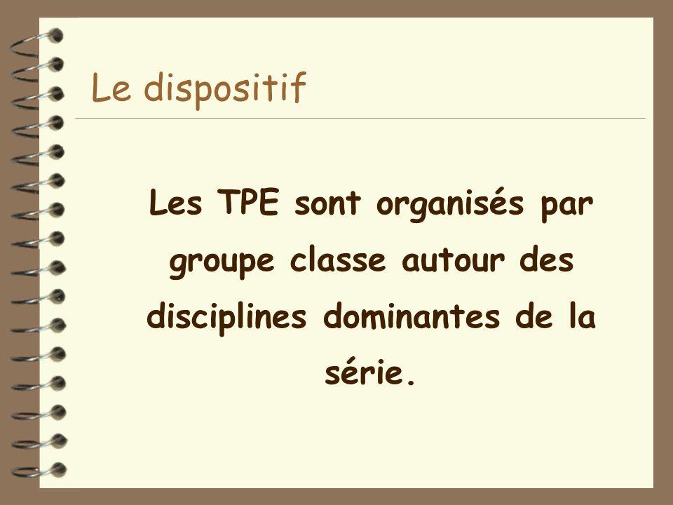 Les TPE sont organisés par groupe classe autour des disciplines dominantes de la série. Le dispositif