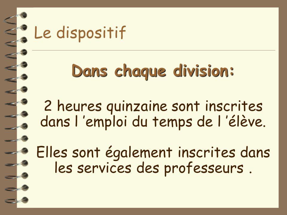 Dans chaque division: Dans chaque division: 2 heures quinzaine sont inscrites dans l 'emploi du temps de l 'élève. Elles sont également inscrites dans