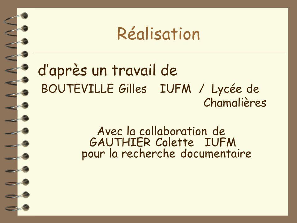 Réalisation d'après un travail de BOUTEVILLE Gilles IUFM / Lycée de Chamalières Avec la collaboration de GAUTHIER ColetteIUFM pour la recherche docume