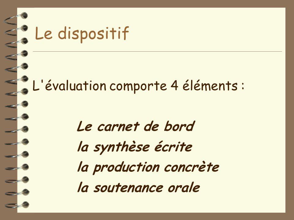 Le dispositif L'évaluation comporte 4 éléments : Le carnet de bord la synthèse écrite la production concrète la soutenance orale