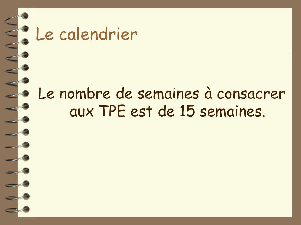 Le nombre de semaines à consacrer aux TPE est de 15 semaines.