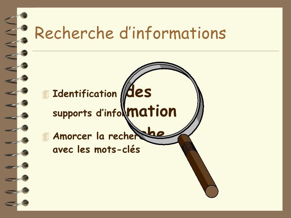 Recherche d'informations 4 Identification des supports d'infor mation 4 Amorcer la recher che avec les mots-clés