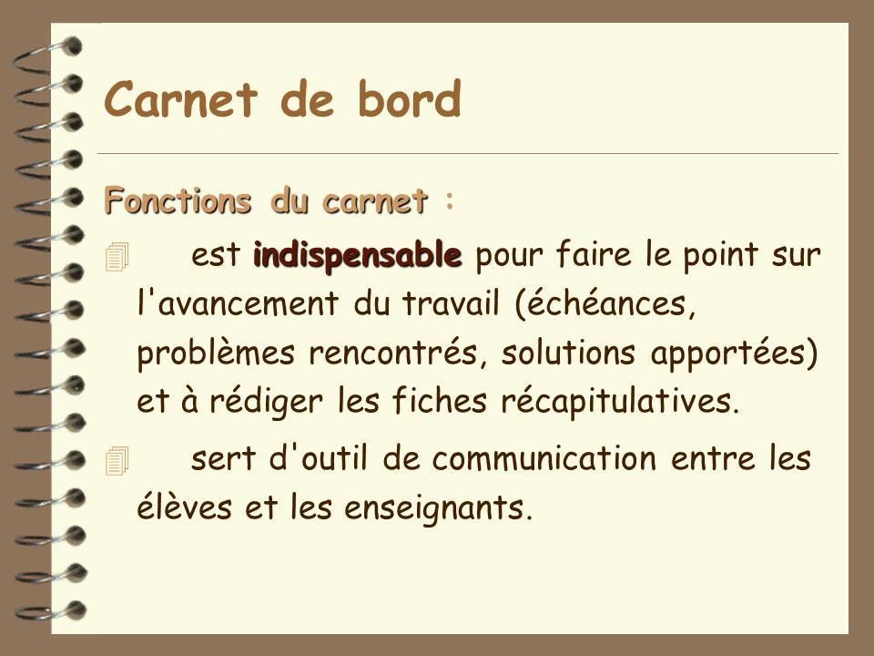 Carnet de bord Fonctions du carnet Fonctions du carnet : indispensable 4 est indispensable pour faire le point sur l'avancement du travail (échéances,