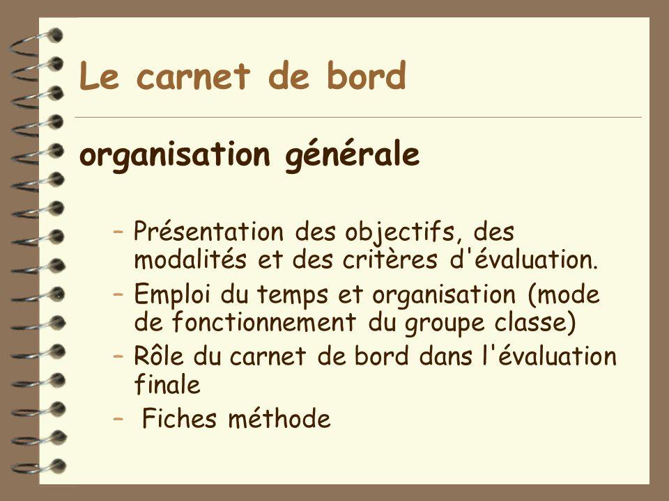 Le carnet de bord organisation générale –Présentation des objectifs, des modalités et des critères d'évaluation. –Emploi du temps et organisation (mod