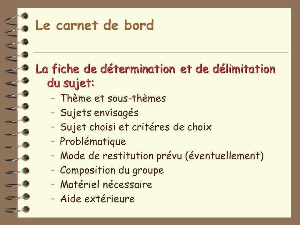 Le carnet de bord La fiche de détermination et de délimitation du sujet: –Thème et sous-thèmes –Sujets envisagés –Sujet choisi et critéres de choix –P