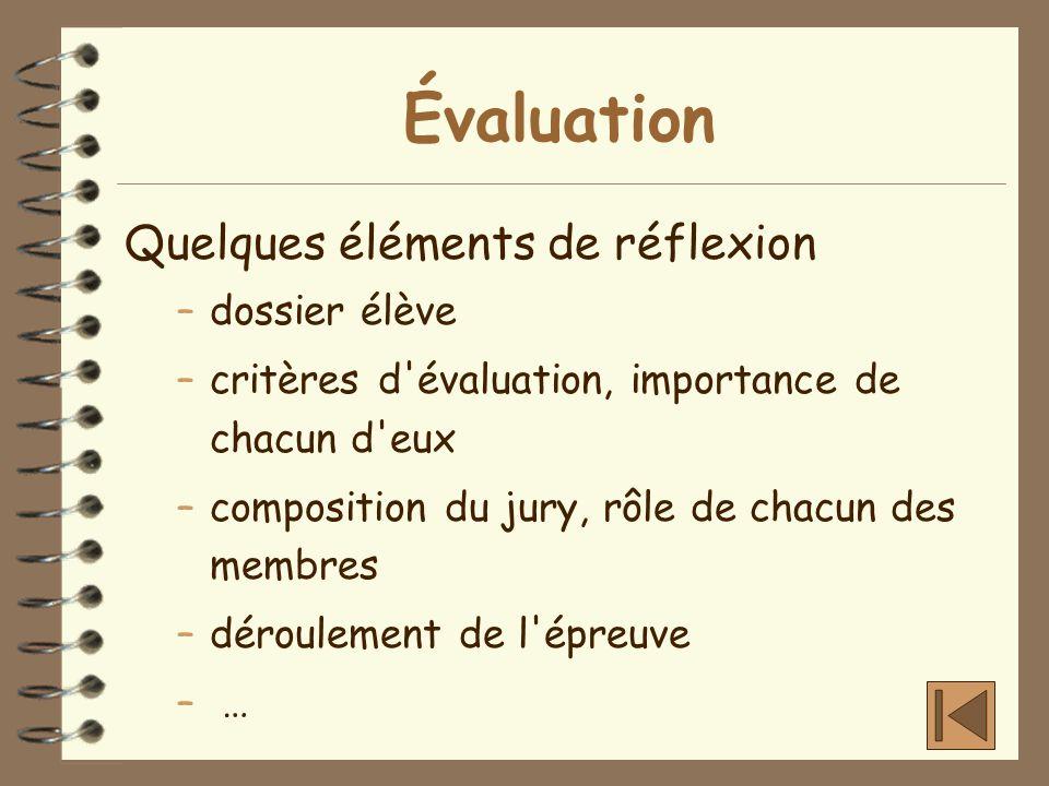 Évaluation Quelques éléments de réflexion –dossier élève –critères d'évaluation, importance de chacun d'eux –composition du jury, rôle de chacun des m