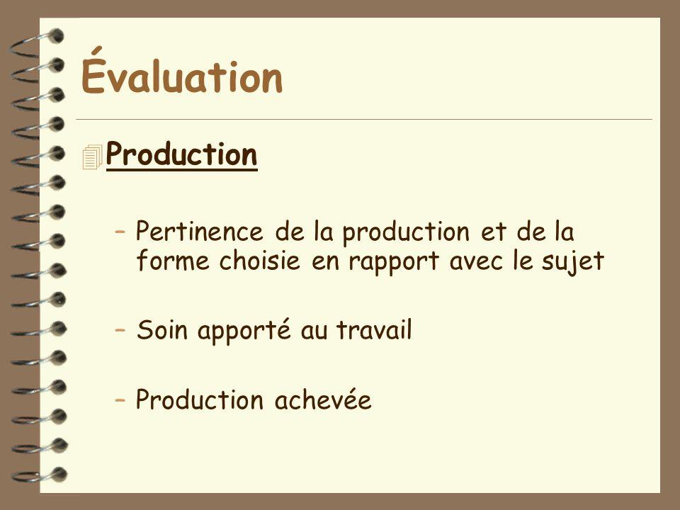 Évaluation 4 Production –Pertinence de la production et de la forme choisie en rapport avec le sujet –Soin apporté au travail –Production achevée