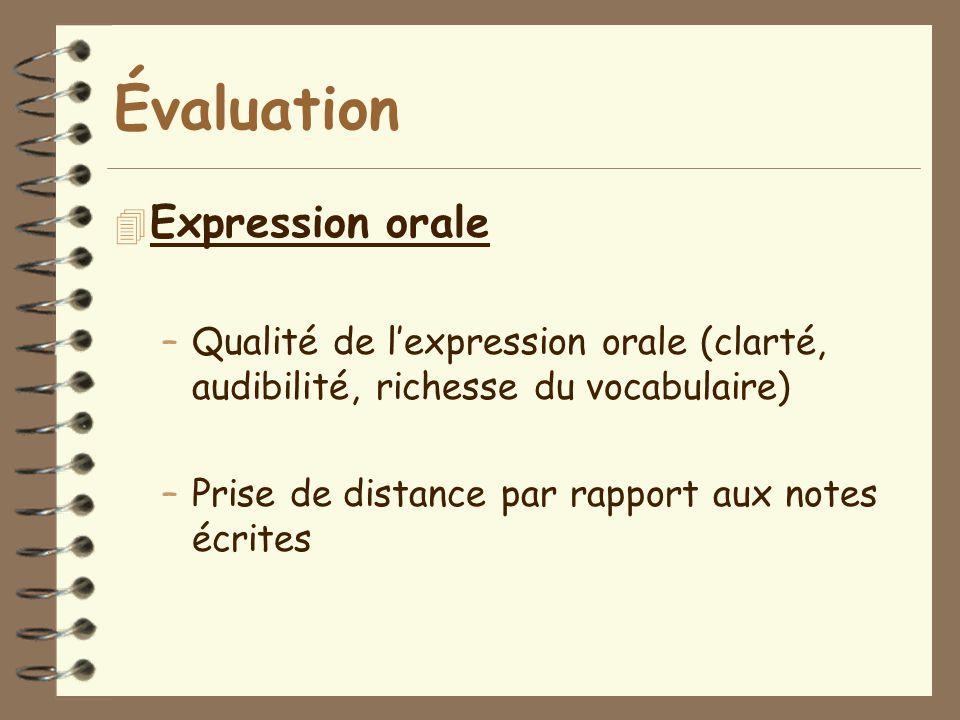 Évaluation 4 Expression orale –Qualité de l'expression orale (clarté, audibilité, richesse du vocabulaire) –Prise de distance par rapport aux notes éc