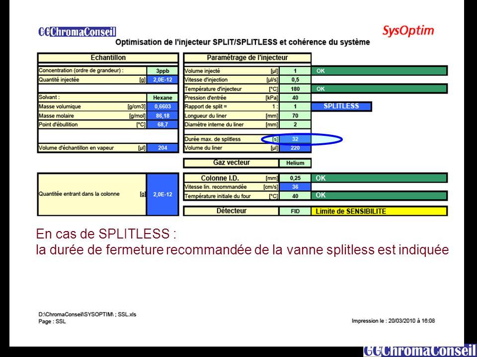 12 En cas de SPLITLESS : la durée de fermeture recommandée de la vanne splitless est indiquée