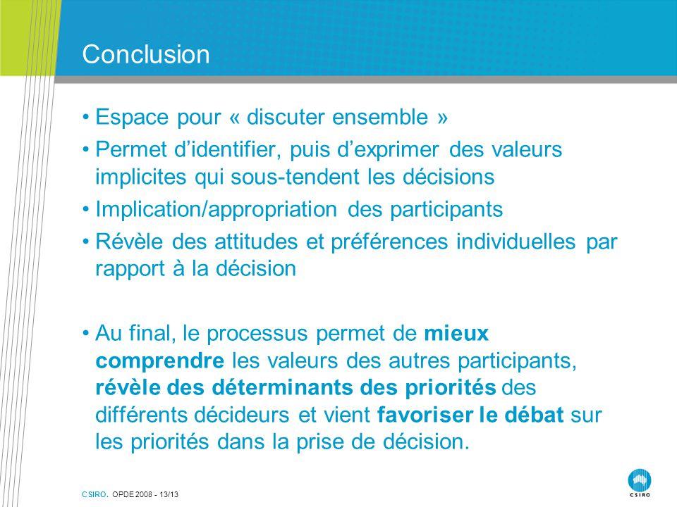 CSIRO. OPDE 2008 - 13/13 Conclusion Espace pour « discuter ensemble » Permet d'identifier, puis d'exprimer des valeurs implicites qui sous-tendent les