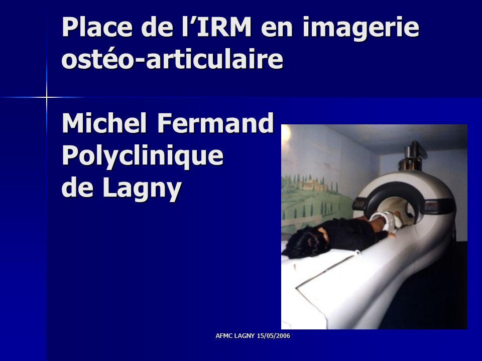 AFMC LAGNY 15/05/2006 Place de l'IRM en imagerie ostéo-articulaire Michel Fermand Polyclinique de Lagny