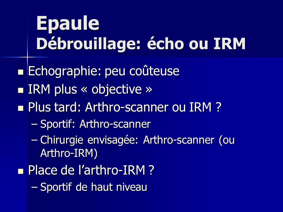 Epaule Débrouillage: écho ou IRM Echographie: peu coûteuse Echographie: peu coûteuse IRM plus « objective » IRM plus « objective » Plus tard: Arthro-s
