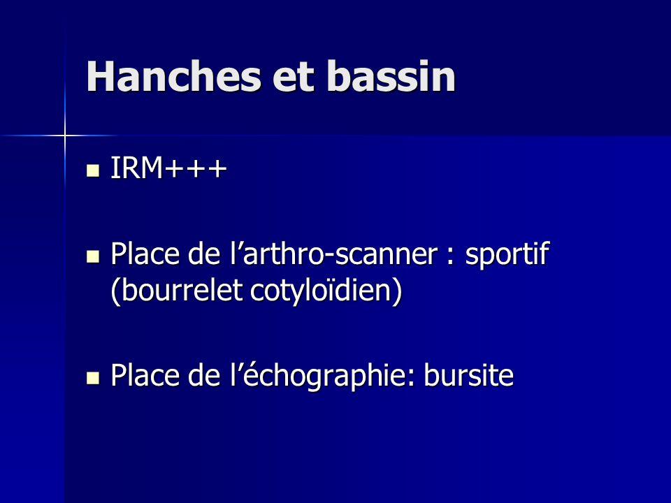 Hanches et bassin IRM+++ IRM+++ Place de l'arthro-scanner : sportif (bourrelet cotyloïdien) Place de l'arthro-scanner : sportif (bourrelet cotyloïdien