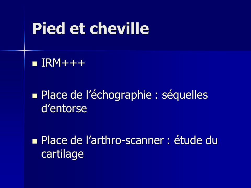 Pied et cheville IRM+++ IRM+++ Place de l'échographie : séquelles d'entorse Place de l'échographie : séquelles d'entorse Place de l'arthro-scanner : é