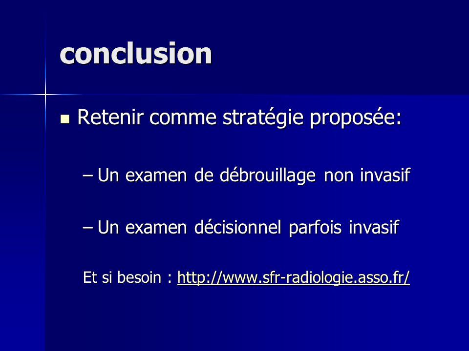 conclusion Retenir comme stratégie proposée: Retenir comme stratégie proposée: –Un examen de débrouillage non invasif –Un examen décisionnel parfois i