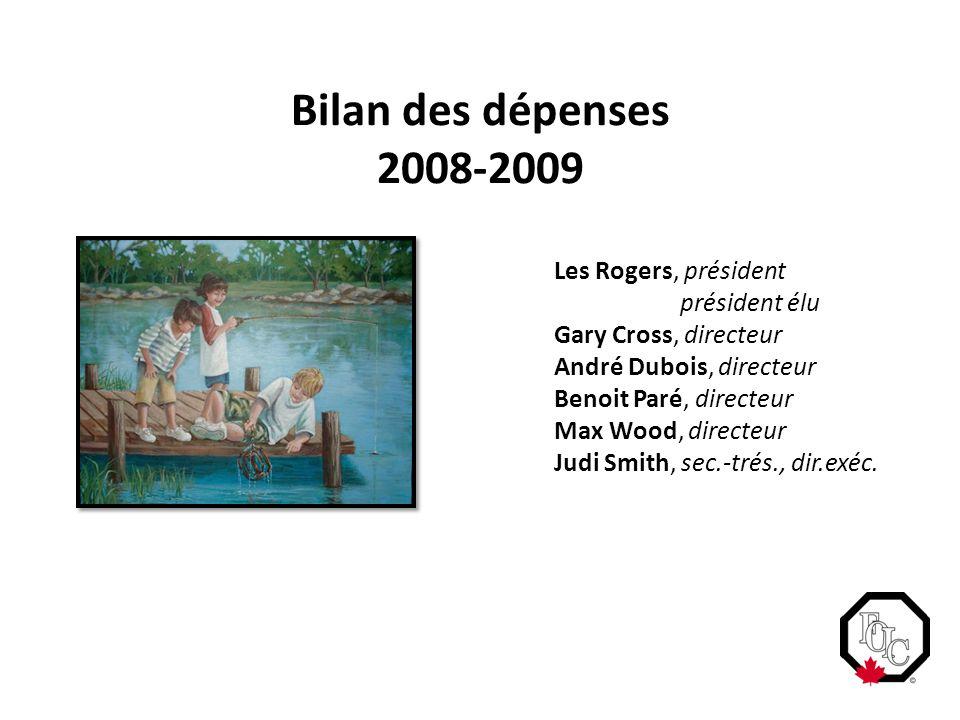 Bilan des dépenses 2008-2009 Les Rogers, président président élu Gary Cross, directeur André Dubois, directeur Benoit Paré, directeur Max Wood, directeur Judi Smith, sec.-trés., dir.exéc.