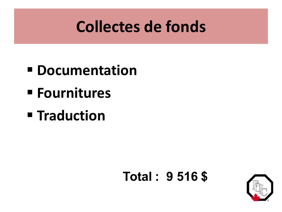 Collectes de fonds  Documentation  Fournitures  Traduction Total : 9 516 $