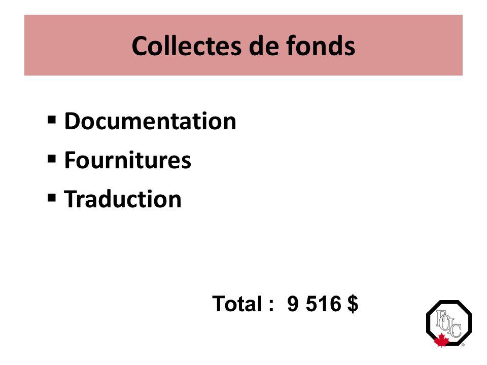 Collectes de fonds  Documentation  Fournitures  Traduction Total : 9 516 $