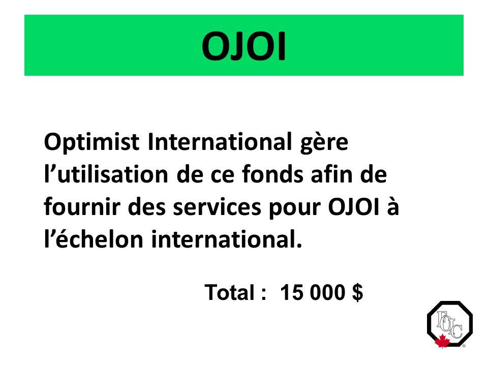 OJOI Optimist International gère l'utilisation de ce fonds afin de fournir des services pour OJOI à l'échelon international. Total : 15 000 $