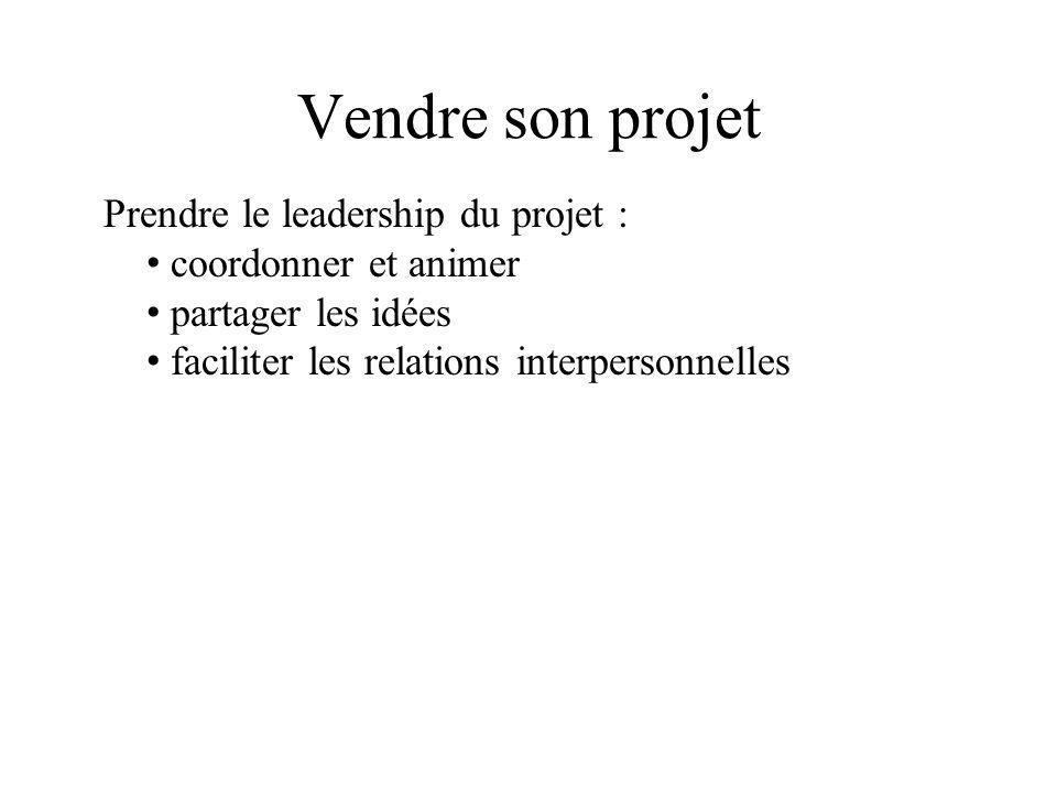 Vendre son projet Prendre le leadership du projet : coordonner et animer partager les idées faciliter les relations interpersonnelles