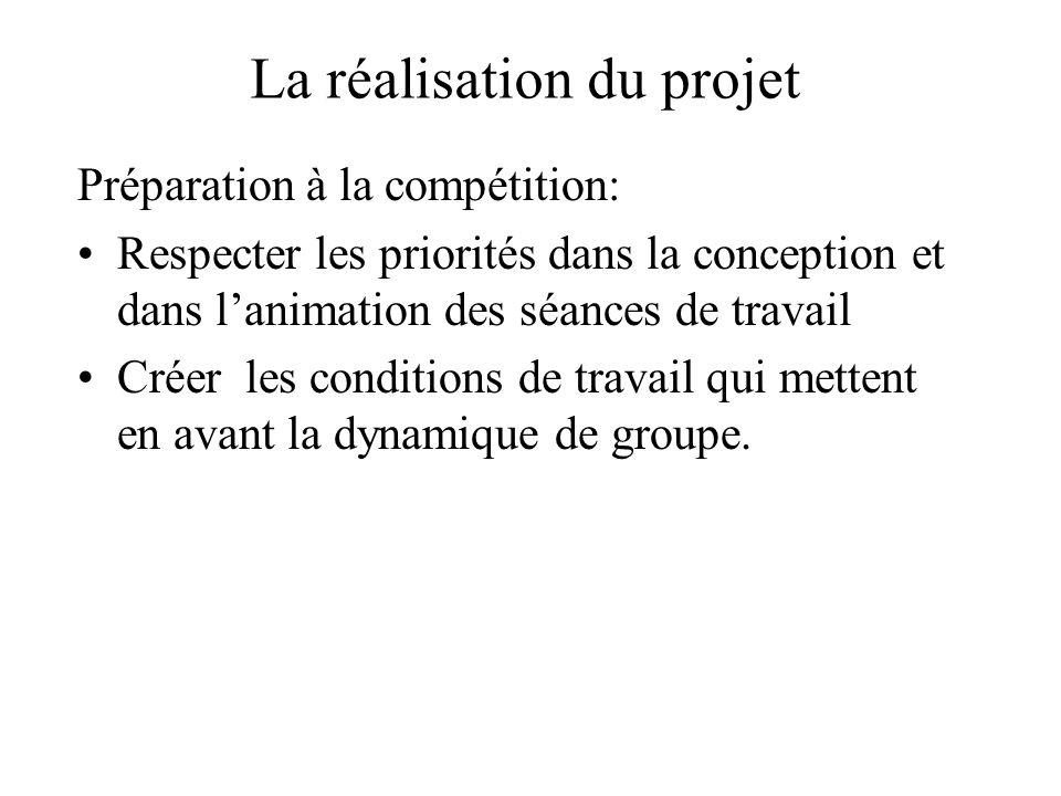 La réalisation du projet Préparation à la compétition: Respecter les priorités dans la conception et dans l'animation des séances de travail Créer les