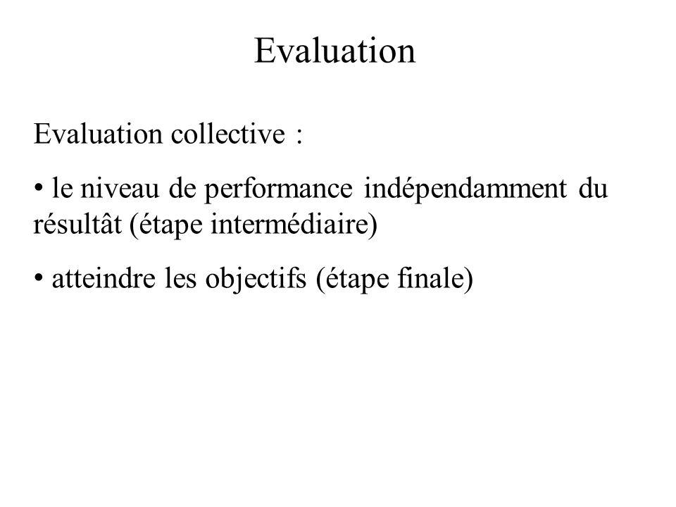 Evaluation Evaluation collective : le niveau de performance indépendamment du résultât (étape intermédiaire) atteindre les objectifs (étape finale)
