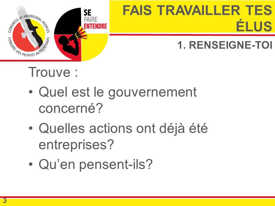 1. RENSEIGNE-TOI Trouve : Quel est le gouvernement concerné.