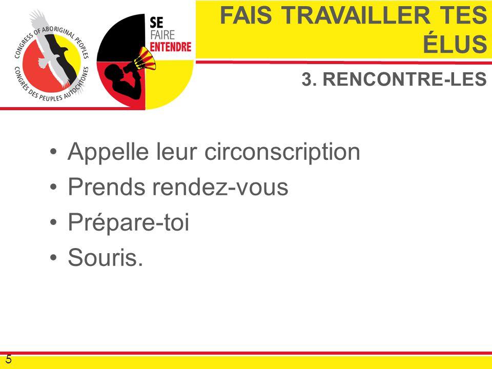 3. RENCONTRE-LES Appelle leur circonscription Prends rendez-vous Prépare-toi Souris.