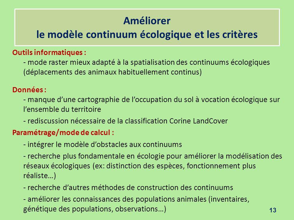 Améliorer le modèle continuum écologique et les critères Outils informatiques : - mode raster mieux adapté à la spatialisation des continuums écologiq