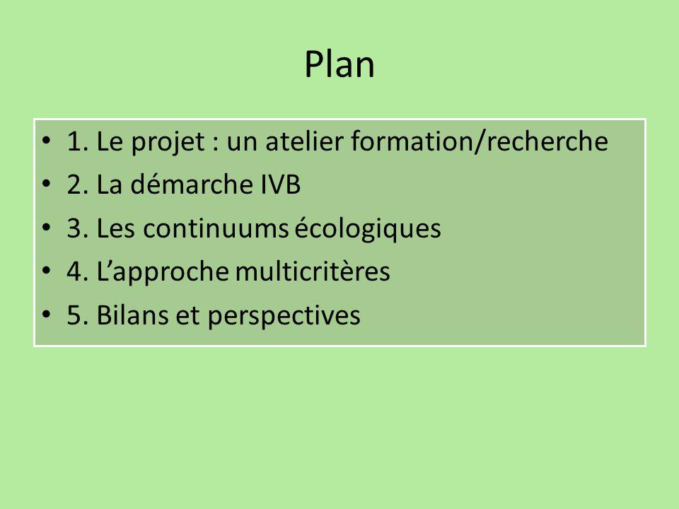 Plan 1. Le projet : un atelier formation/recherche 2. La démarche IVB 3. Les continuums écologiques 4. L'approche multicritères 5. Bilans et perspecti