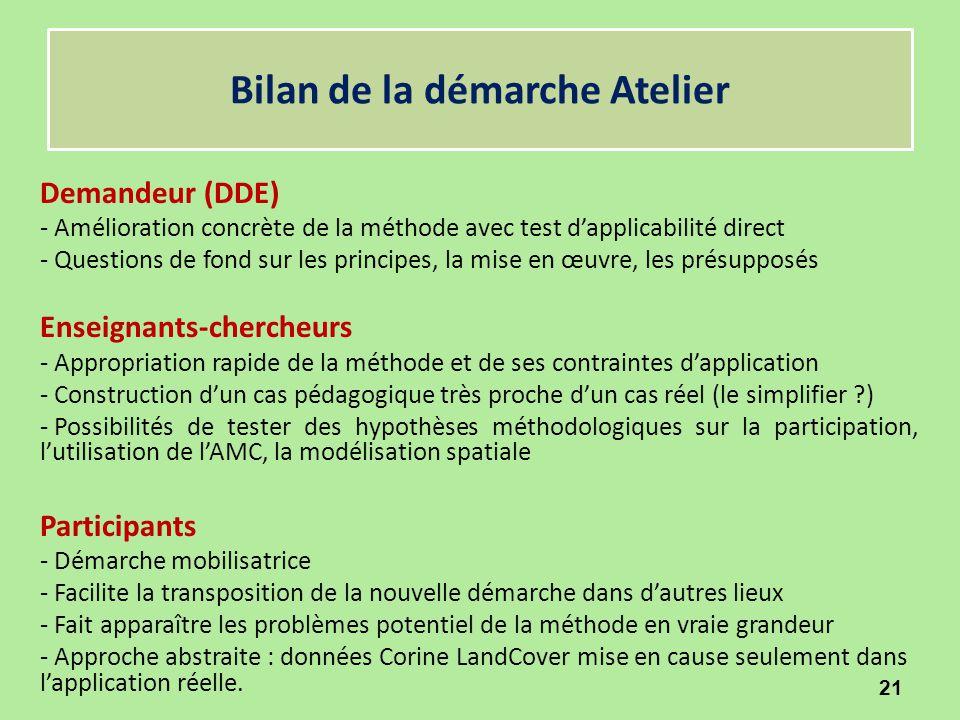 Bilan de la démarche Atelier Demandeur (DDE) - Amélioration concrète de la méthode avec test d'applicabilité direct - Questions de fond sur les princi