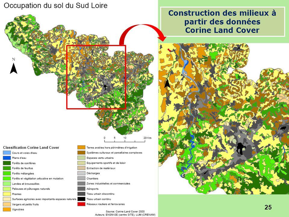25 Construction des milieux à partir des données Corine Land Cover