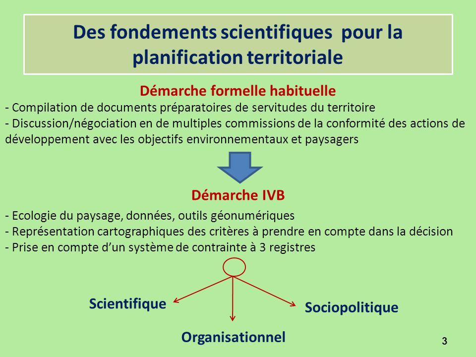 Des fondements scientifiques pour la planification territoriale Démarche formelle habituelle 3 Démarche IVB - Compilation de documents préparatoires d