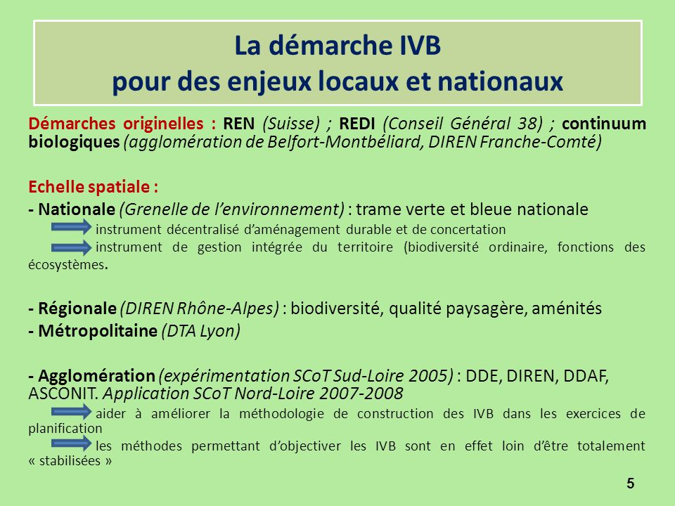 Expérimentation de la démarche IVB à l'échelle d'une agglomération L'Etat national (DIREN) engagé dans une « expérimentation décentralisée » à l'occasion du projets de SCOT Sud-Loire : descendante et technocratique L'Etat local (DDE) engagé dans une démarche appropriée des IVB en s'appuyant sur la valorisation du potentiel local d'innovation et de recherche (Université – Ecole des Mines) : ascendante et participative 6 ?