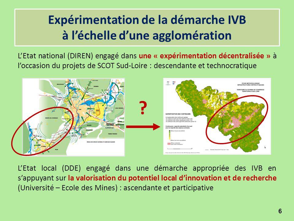 Expérimentation de la démarche IVB à l'échelle d'une agglomération L'Etat national (DIREN) engagé dans une « expérimentation décentralisée » à l'occas
