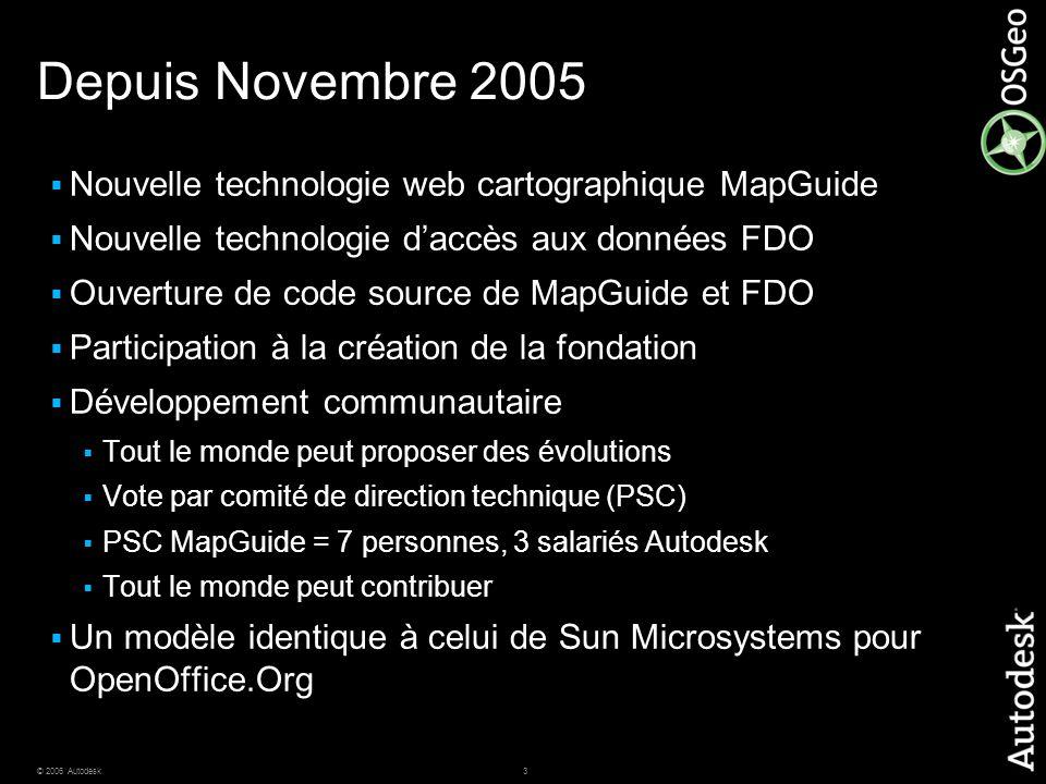 3© 2006 Autodesk Depuis Novembre 2005  Nouvelle technologie web cartographique MapGuide  Nouvelle technologie d'accès aux données FDO  Ouverture de code source de MapGuide et FDO  Participation à la création de la fondation  Développement communautaire  Tout le monde peut proposer des évolutions  Vote par comité de direction technique (PSC)  PSC MapGuide = 7 personnes, 3 salariés Autodesk  Tout le monde peut contribuer  Un modèle identique à celui de Sun Microsystems pour OpenOffice.Org