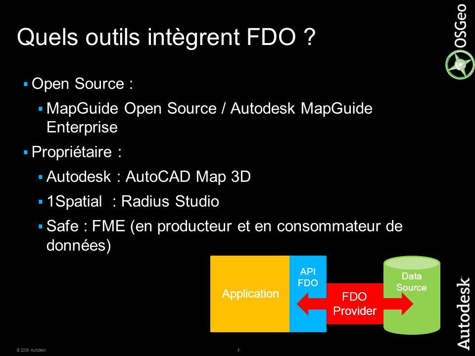 7© 2006 Autodesk Fournisseurs FDO Accès natif à une multitude de formats géographiques, sans copie ou conversion de données Applications intégrant FDO Par exemple, AutoCAD Map 3D, Autodesk MapGuide Enterprise et MapGuide Open Source Oracle SQL- Server MySQL SDF SHP ODBC Raster WMS WFS ArcSDE Fournisseurs certifiés par AutodeskFournisseurs tiers / Open Source GDAL OGR FME PostGIS SQL-Server Oracle Oracle et SQL-Server MS Access et Excel Plus de 25 formats vectoriels 25+ raster formats Plus de 100 formats vectoriels.jpg,.jpeg,.jp2,.j2k,.sid,.png,.tif,.tiff,.dem,.ecw,.dt0,.dt1, dt2,.asc,.adf,.nitf Informix … = en cours de développement … … = Tiers / Open Source = Autodesk contribue
