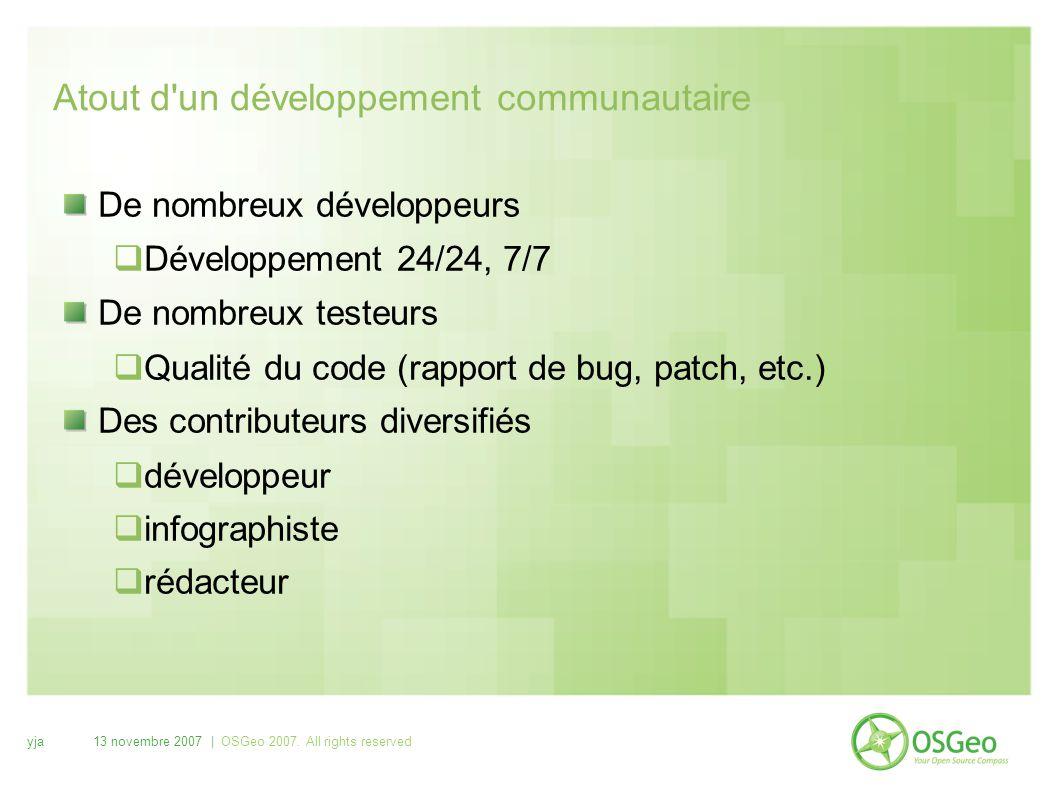 yja13 novembre 2007 | OSGeo 2007. All rights reserved Atout d'un développement communautaire De nombreux développeurs  Développement 24/24, 7/7 De no
